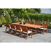 Amazonia Carrie 9-Pc. Wood Double Leaf Extendable Patio Dining Set