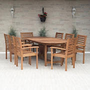 Amazonia Melinda 9-Pc. Wood Extendable Patio Dining Set