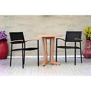Amazonia Anette 3-Pc. Teak and Aluminum Patio Bistro Set