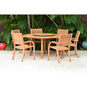 Amazonia Marlene 7-Pc. Teak Finish Lazy Susan Patio Dining Set