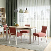 Handy Living Hendrix 5-Pc. Smart Top Dining Set with Dining Armless Chairs - Red