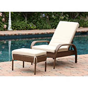 Abbyson Living Hamptons Outdoor Chaise and Ottoman Set