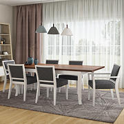 Handy Living Anniliese 7-Pc. Butterfly Leaf Dining Set with Upholstered Dining Chairs - Gray