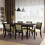 Handy Living Anniliese 7-Pc. Butterfly Leaf Dining Set with Upholstered Side Chairs - Beige