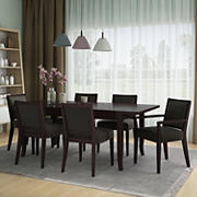 Handy Living Anniliese 7-Pc. Butterfly Leaf Dining Set with Upholstered Side Chairs - Brown