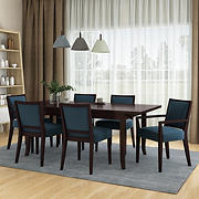 Handy Living Anniliese 7-Pc. Butterfly Leaf Dining Set with Upholstered Side Chairs - Blue