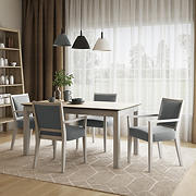 Handy Living Hendrix 5-Pc. Smart Top Dining Set with Dining Arm Chairs - Gray