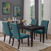Handy Living Joslyn 5-Pc. Rectangular Dining Set with Nailhead Trim Armless Chairs - Blue