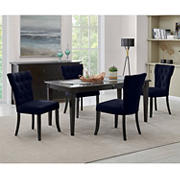 Handy Living Joslyn 5-Pc. Rectangular Dining Set with Tufted Armless Dining Chairs - Navy Blue
