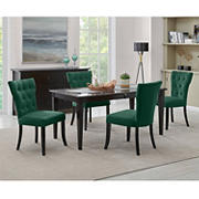 Handy Living Joslyn 5-Pc. Rectangular Dining Set with Tufted Armless Dining Chairs - Emerald Green