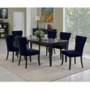 Handy Living Joslyn 7-Pc. Rectangular Dining Set with Tufted Armless Dining Chairs - Navy Blue