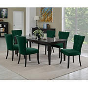 Handy Living Joslyn 7-Pc. Rectangular Dining Set with Tufted Armless Dining Chairs - Emerald Green