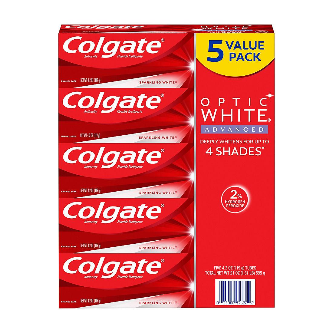Colgate Optic White Advanced Teeth Whitening Toothpaste 5 Pk