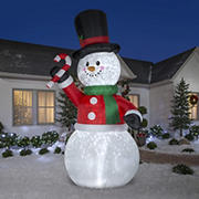 Gemmy Airblown Snowman with Giant Candy Cane