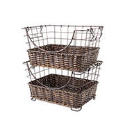 Vanderbilt Home Grid Twist Woven Stacking Baskets, 2 pk.