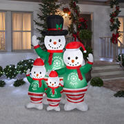 Gemmy Airblown Snowman Pajama Family Inflatable