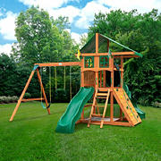 Gorilla Playsets Avalon Treehouse Swing Set with Canopy Roof and Twister Tube Slide
