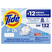 Tide Pods Free and Gentle Liquid Laundry Detergent Pacs, 132 ct.