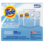 Tide Pods Free and Gentle Laundry Detergent, 120 ct.