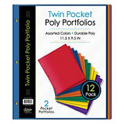 Twin Pocket Poly Portfolios, 12 pk.