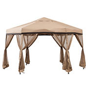 Sunjoy Cobalt 11' x 11' 2-Tone Pop Up Portable Steel Gazebo - Tan and Gray