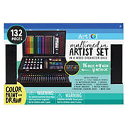 Art 101 132-Pc. Multimedia Artist Set with Wood Organizer Case