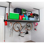 "SafeRacks 4' x 8' Overhead Storage Rack with 24"" Ceiling Drop - Hammertone"
