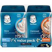 Gerber Single Grain Rice Cereal and Oatmeal Cereal, 2 ct./16 oz.