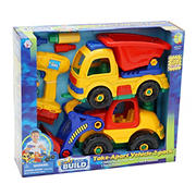Kids Can Build Take Apart Set with Toy Power Drill, 2 pk. - Dump Truck/Bulldozer