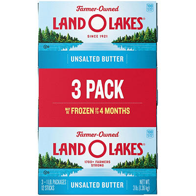 Land O'Lakes Unsalted Butter, 3 pk./1 lb.