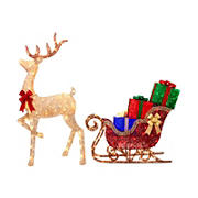 Berkley Jensen LED Reindeer and Sleigh Sculpture Set