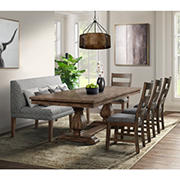 Picket House Furnishings Hayward 6-Piece Dining Set-Table with Four Faux Leather Chairs and Settee