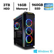 CLX SET TGMSETRTH8A22BM Gaming Desktop, Intel Core i9 9900K 3.6GHz Processor, 16GB Memory, 960GB SSD, 3TB HDD