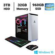 CLX SET TGMSETRTH0202WR Gaming Desktop, Intel Core i9 10900X 3.7GHz Processor, 32GB Memory, 960GB SSD, 3TB HDD