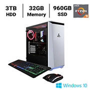 CLX SET TGMSETRTH0205WR Gaming Desktop, AMD Ryzen 9 3950X 3.5GHz Processor, 32GB Memory, 960GB SSD, 3TB HDD