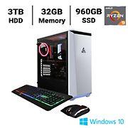 CLX SET TGMSETRTH0205WR Gaming Desktop, AMD Ryzen 9 3950X 3.5GHz Processor, 32GB Memory, 960GB SSD, 3TB HDD