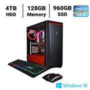 CLX SET TGMSETRTH0210BR Gaming Desktop, Intel Core i9 10980XE 3.0GHz Processor, 128GB Memory, 960GB SSD, 4TB HDD
