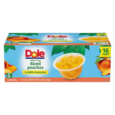 Dole Yellow Cling Diced Peaches, 16 pk./4 oz.
