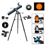Galileo 800mm x 80mm Astronomical Reflector Telescope with Smartphone Adapter and Solar Filter