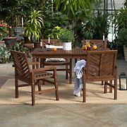 W. Trends 5-Pc. Patio Acacia Dining Set - Dark Brown