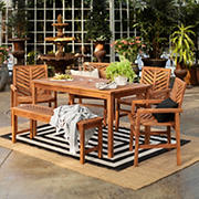W. Trends 6-Pc. Patio Acacia Dining Set - Brown