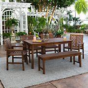 W. Trends 6-Pc. Patio Acacia Dining Set - Dark Brown