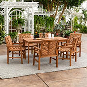 W. Trends 7-Pc. Patio Acacia Dining Set - Brown
