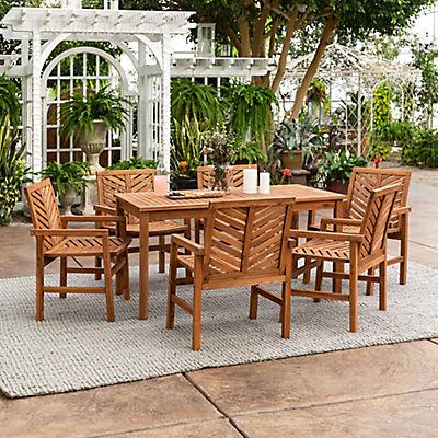 W Trends 7 Pc Patio Acacia Dining Set, Bjs Patio Furniture