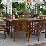 W. Trends 7-Pc. Patio Acacia Dining Set - Dark Brown