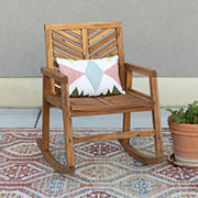 W. Trends Outdoor Acacia Rocking Chair - Brown