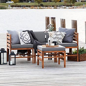 W Trends 4 Pc Patio Acacia Set, Bjs Patio Furniture