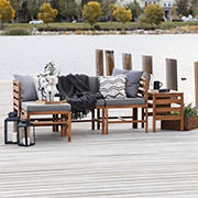 W. Trends 5-Pc. Patio Acacia Chat Set - Brown