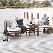 W. Trends 5-Pc. Patio Acacia Chat Set - Dark Brown