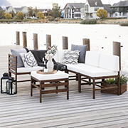 W. Trends 6-Pc. Patio Acacia Chat Set - Dark Brown